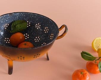 Vintage Orange and Brown Ombre Enamel Colander