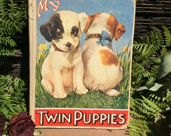 My twin puppies vintage book 1924 Sam'l Gabriel Sons and Company