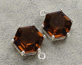 2 Hexagonal Smoky Quartz Crystal Glass Pendant, 18mm, Silver Plated over Brass Prong Setting. [A1190144]