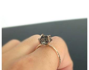 Herkimer Diamond Engagement Ring, Black Diamond Engagement Ring, Gold Engagement Ring