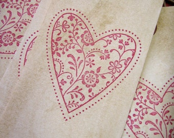 Vintage style red tapestry heart valentine tags