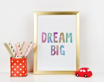 "PRINTABLE Art ""Dream Big Little Ones"" Nursery Decor Nursery Art Print Nursery Wall Art Home Decor Inspirational Quote Kids room Decor"