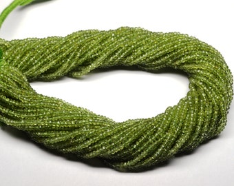 AAA 14 Inch 3mm Vivid Natural Peridot Semiprecious Stone faceted Rondelle Beads Strand-Peridot Faceted Rondelles