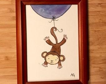 Watercolor Baby Monkey (Nursery Art)