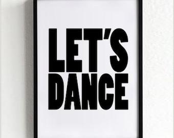 Dance Typography Print, Wall Art, Black and White Poster, Minimalist Wall Decor, Scandinavian Design, Home Art