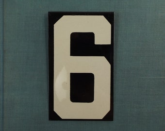 vintage. metal sign. sign. industrial. rustic. home decor. for him. for her. numbers. number sign. number. metal number. number 6