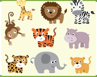Baby Jungle Safari Animal Clip Art