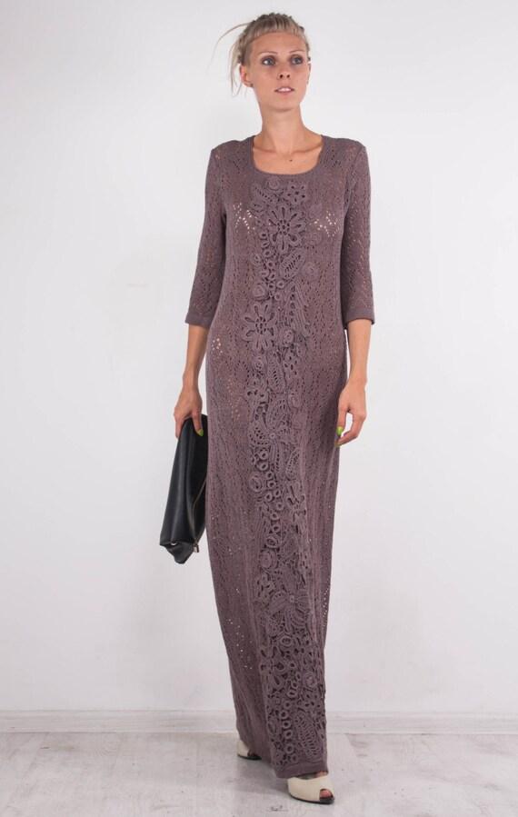 KNIT Dress Crochet evening Dress irish viscose floor Dress dress mocha Dress Beach Maxi Dress dress viscose Crochet mocha Dress lace maxi BqwOxx1nE6