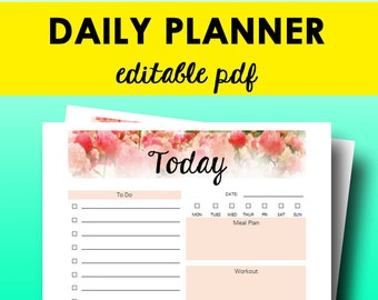 Daily Planner Printable, 2018 Daily Planner, 2018 Printable Pages, Day Plan, To Do List, Editable Sheets, Letter Size, Instant Download