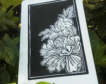 "Linocut ""Peony"" Original Linocut, linoprint"
