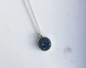 Dark Blue Resin Druzy Necklace, Druzy Necklace, Drusy Necklace, Crystal Necklace