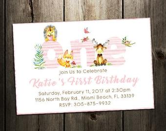 Woodland First Birthday Invitation,  Girl Birthday Invite, Woodland Animal Birthday - Woodland Party Invitation, Pink Digital Printable card