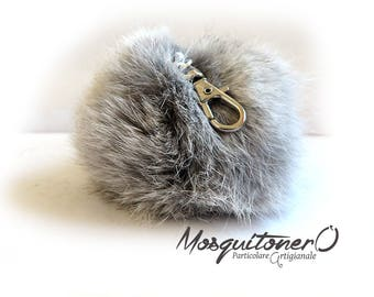 Women's key ring in faux fur grey pom pon keyrings fur