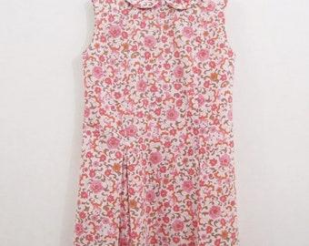 Vintage Kids Dress 60s Mod Girls Pink Floral Drop Waist Pleated Mini Dress
