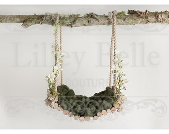 Digital prop/backdrop (Woodland Swing Floral Moss)