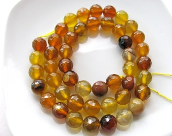Agate beads, 23 beads, Caramel brown, faceted beads, 8mm - #432