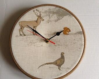 Fryetts Tatton Woodland Animals Stag Pheasant Squirrel Fabric Covered Wall Clock
