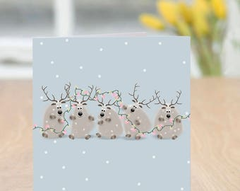 All Here - Cute and Quirky Reindeer Christmas Card