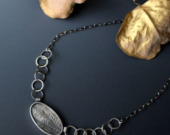 Sterling silver handmade fern and loop chain necklace