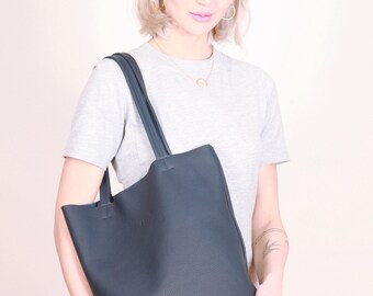 Blue Leather bag, blue Tote Bag ,blue hand bag,leather hand bag