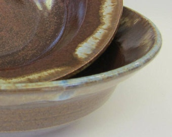 Wide Cereal Bowl - Handmade Pottery - Stoneware - Blue and Reddish-Brown