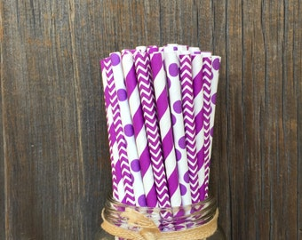 Purple Paper Straws, 75 Purple Dot Straws, Purple Stripe Straws, Purple Chevron, Baby Shower Straws, Birthday, Paper Straws, Free Shipping