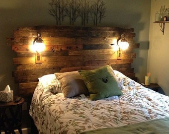 Pallet Wood Headboard - Rustic/Industrial - Repurpose, Reuse, Recycle. Each one is unique!  STAGGERED EDGES
