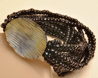 """Mother Of Pearl Glass Seed Bead Large Stretch 7-8.50"""" Bracelet"""