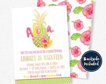 Pineapple Birthday Invitation, Aloha Invitation, Gold Pineapple Invitation, Tropical Party Invite, Sweet Sixteen Invitation