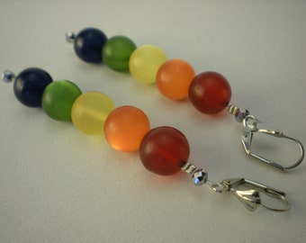 Earrings Polaris Beaded Rainbow 9 cm nickel free Ohrringeinhänger OH06