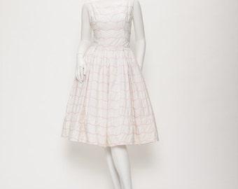 white + pink day dress vintage 1950s • Revival Vintage Boutique