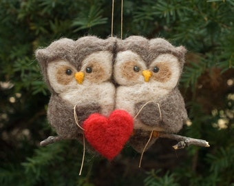 Needle Felted Owl Ornament - Love Birds