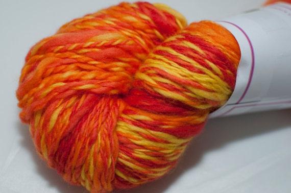 Merino Handspun Yarn in Shades of Orange and Yello 113g/214yds