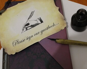 Please Sign Our Guestbook - Wedding - Vintage Style Sign, Handmade