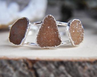 Silver Quartz Cuff, Druzy Cuff, Silver Druzy Cuff, Statement Cuff, Natural Stone Cuff, Gemstone Cuff, Gifts for her, Druzy Jewelry, Boho