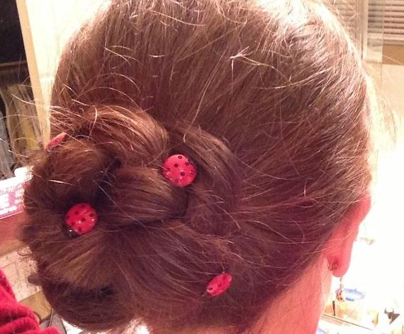 Ladybug Hair Swirls Set of 6 Hair Spins, Coils, Twists, Twisties, Spirals