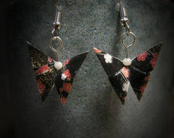 Boucles d'oreilles origami paper black butterflies with flowers