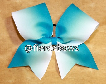Teal to White Ombre Bow