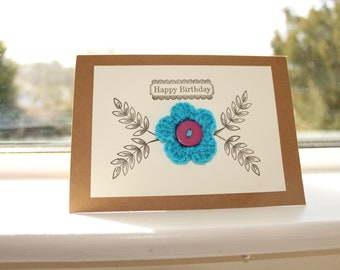 Crochet Flower Happy Birthday Card