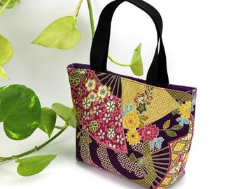 Tote Bag Small, Minimalist Bag, market bag, Daily bag, Gift For Wife, Floral Bag, Flowers Sensu Purple