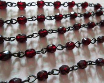 Beaded Chain - Bead Chain - Rosary Chain - 4mm Dark Garnet Red Beaded Chain - Black Bead Chain - Jewelry Supplies - Glass Beads