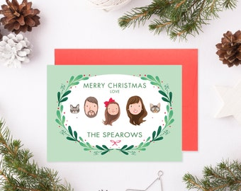 Custom Illustrated Family Portrait Christmas Holiday Card - Digital File only