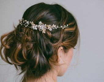 Bridal Headband, Bridal hair vine, Gold Hair Vine, Silver hair wreath, Rose gold hair vine, Silver hair vine, Boho wedding jewelry