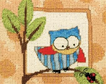 Curious Owl Mini Needlepoint Kit