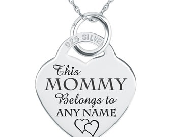 This Mommy Belongs To.... Necklace, Personalized, 925 Sterling Silver Heart