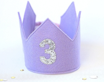 Birthday Crown -  Lilac Crown - Birthday Girl outfit - Second Birthday - Third Birthday - 3rd birthday -2nd birthday -Party Hat -Party Crown