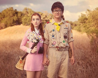 SUZY BISHOP DRESS Moonrise Kingdom Halloween Dress, Suzy Bishop Halloween Costume, Pink Dress White Collar, Peter Pan Collar