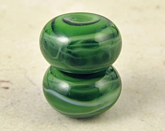 Handmade Glass Lampwork Bead Pair Mint Olive Green Small 11x7mm Spearmint