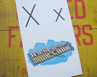 Vintage Large Flash Card - X is for Xylophone - Great Illustration - 1958
