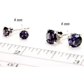 Amethyst Stud Earrings Sterling Silver Purple Earrings Birthstone Earrings February Birthstone Jewelry Anniversary Gift For Women 4 or 6mm